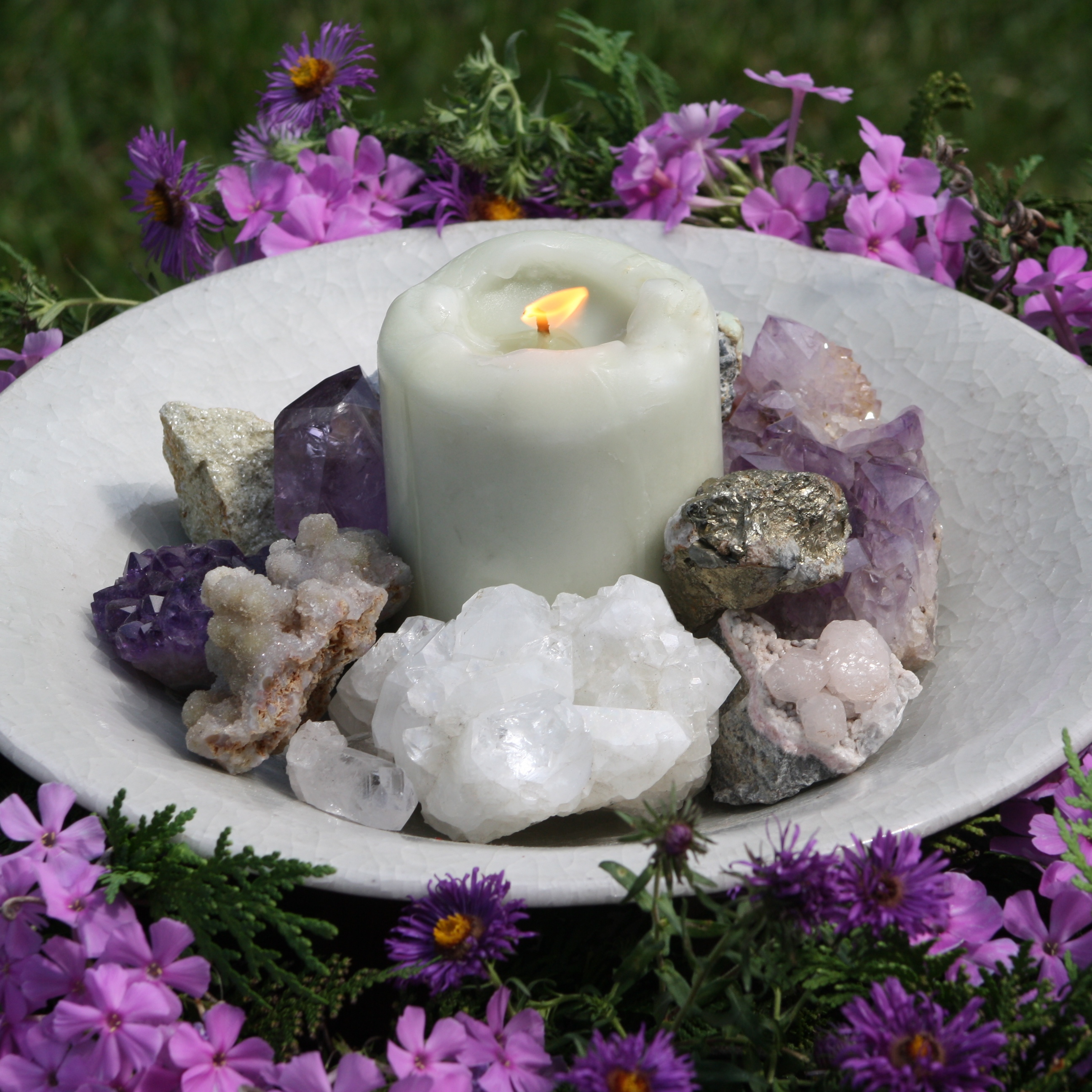 Crystals + Candle + Flowers