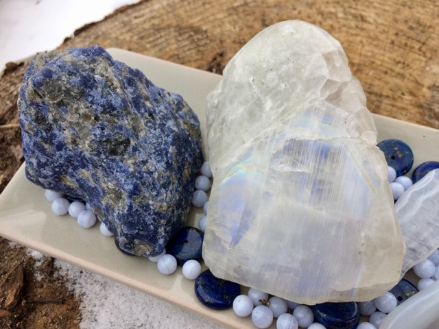 Blue Lace Agate, Moonstone, Lapis