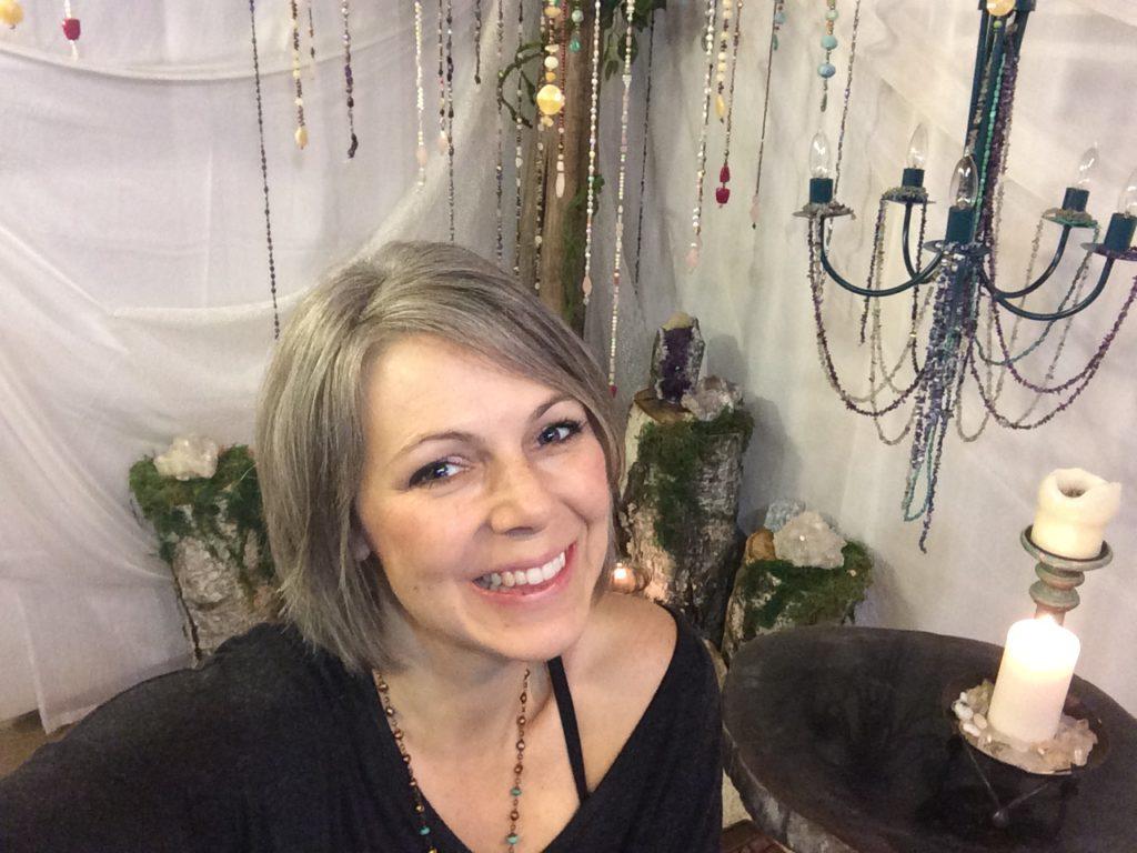 Lori with crystal tree